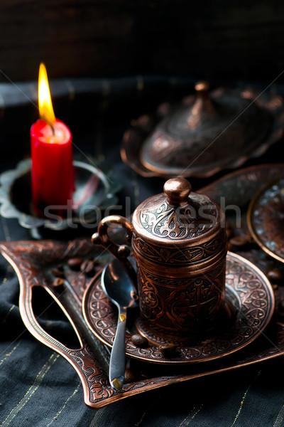 Caffè metal turco tradizionale coppe messa a fuoco selettiva Foto d'archivio © zoryanchik