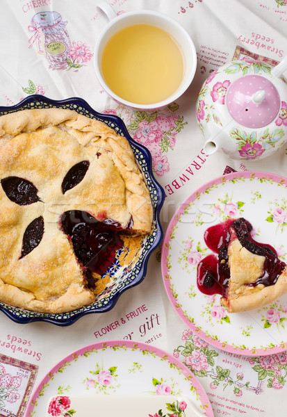 Mulberry pie. Top view Stock photo © zoryanchik