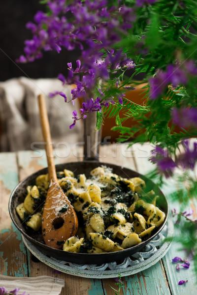 orecchiette butter braised nettles.food gathering Stock photo © zoryanchik