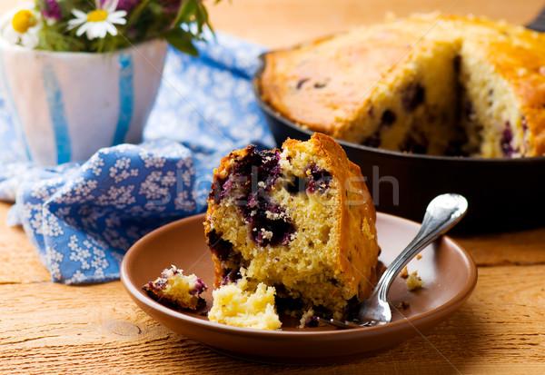 Blueberry Buttermilk Cornbread. Stock photo © zoryanchik