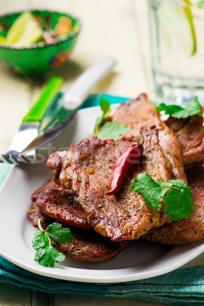Carne di maiale focus carne vegetali pasto taglio Foto d'archivio © zoryanchik