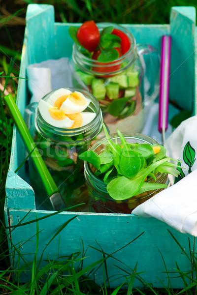 Estate jar insalata outdoor luce stile Foto d'archivio © zoryanchik