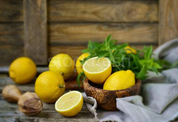 Succosa maturo limoni fresche menta Foto d'archivio © zoryanchik