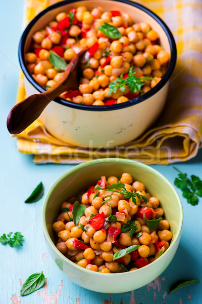 stewed chick-pea with vegetables. vegetarian dish.  Stock photo © zoryanchik