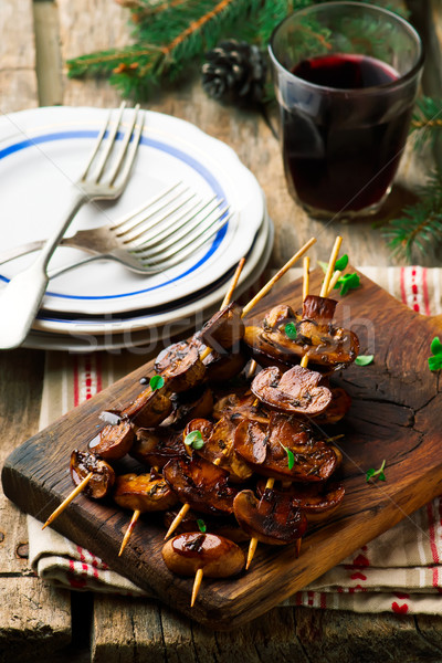 balsamic grilled mushroom.selective focus. Stock photo © zoryanchik