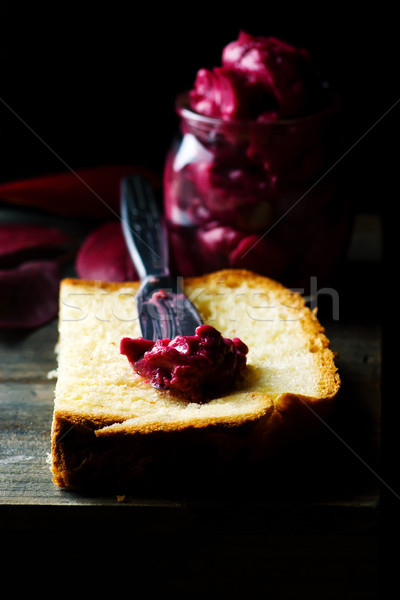 whipped blueberry butter in glass jar. Stock photo © zoryanchik