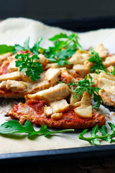 BBQ Chicken Cauliflower Crust Pizza.. Top view. selective focus Stock photo © zoryanchik