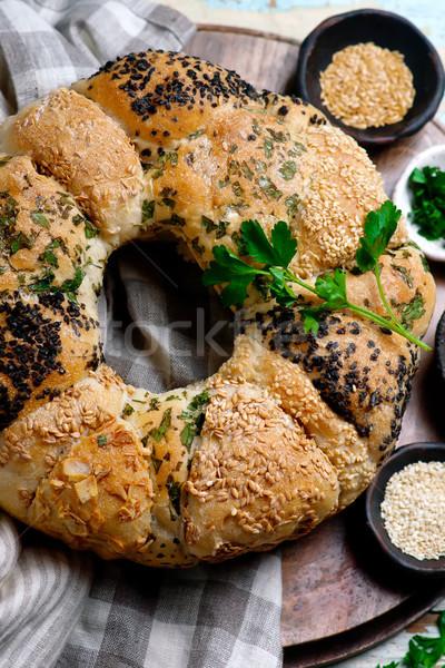 Rasgar pão ervas rústico sementes estilo Foto stock © zoryanchik