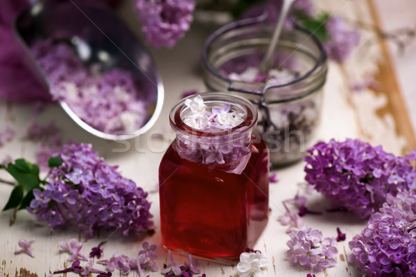 LILAC syrup in glass jar.Style vintage Stock photo © zoryanchik