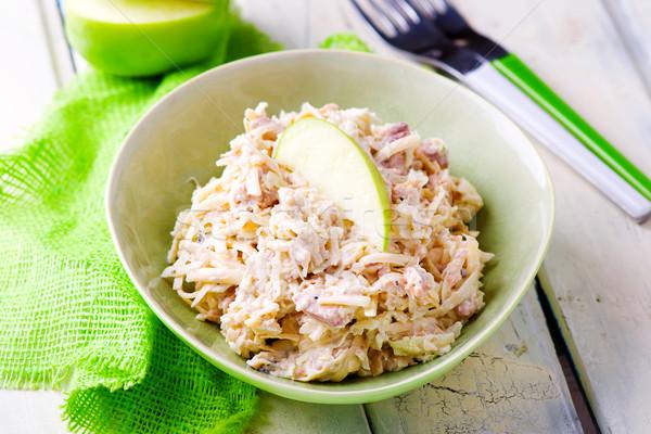 魚 マヨネーズ サラダ 選択フォーカス リンゴ 緑 ストックフォト © zoryanchik