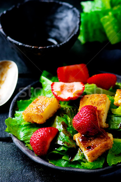 green salad with strawberry and fried cheese Stock photo © zoryanchik