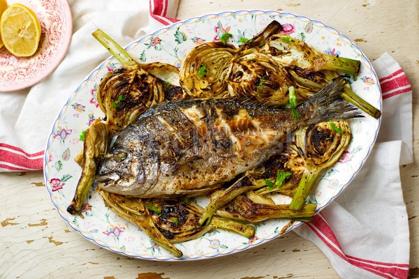 Grilled Fish with Fennel Stock photo © zoryanchik