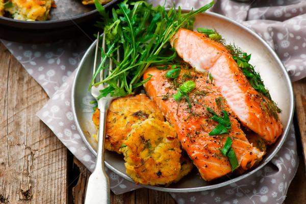 Stock photo: Dill Salmon with Potato Patties