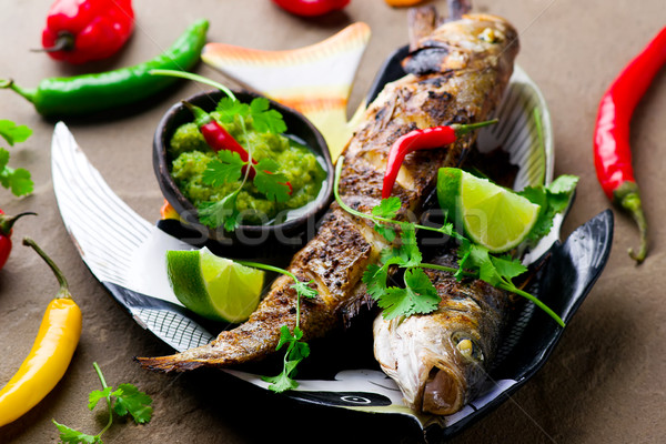 Grilled Snapper with Mango Dip Stock photo © zoryanchik