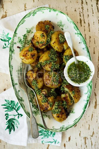 картофеля избирательный подход Vintage продовольствие зеленый Сток-фото © zoryanchik