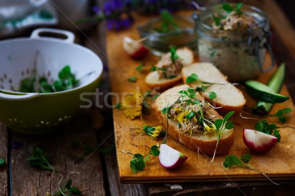 Tavasz tonhal saláta rusztikus zöld tyúk vacsora Stock fotó © zoryanchik
