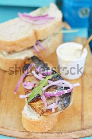 Bruschetta somon sebze salata sağlık ekmek Stok fotoğraf © zoryanchik