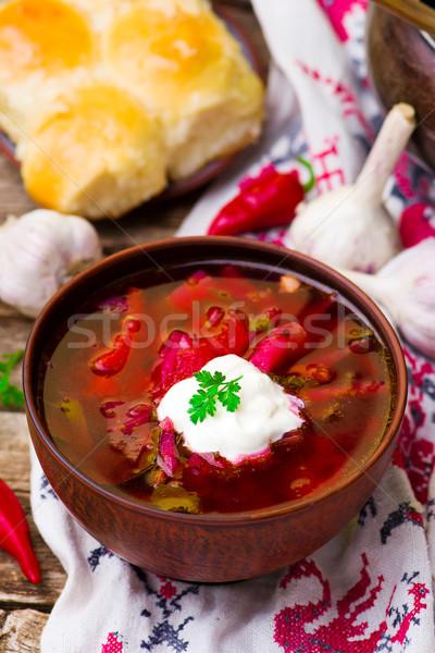 borsch, traditional Ukrainian beet and sour cream soup  Stock photo © zoryanchik