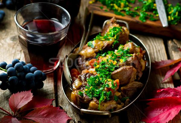 Rustykalny selektywne focus żywności czerwony mięsa gotowania Zdjęcia stock © zoryanchik