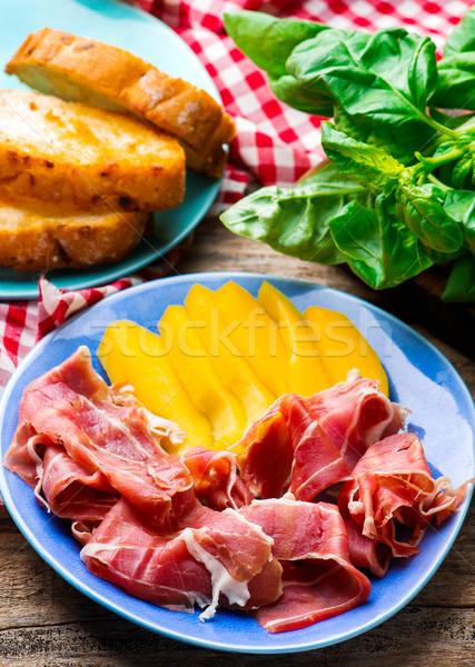 Prosciutto fókusz étel fa gyümölcs asztal Stock fotó © zoryanchik