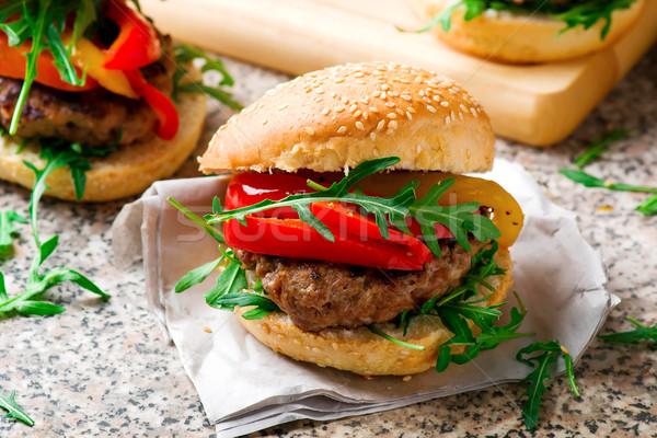 телятина Burger Сыр из козьего молока перец избирательный подход продовольствие Сток-фото © zoryanchik