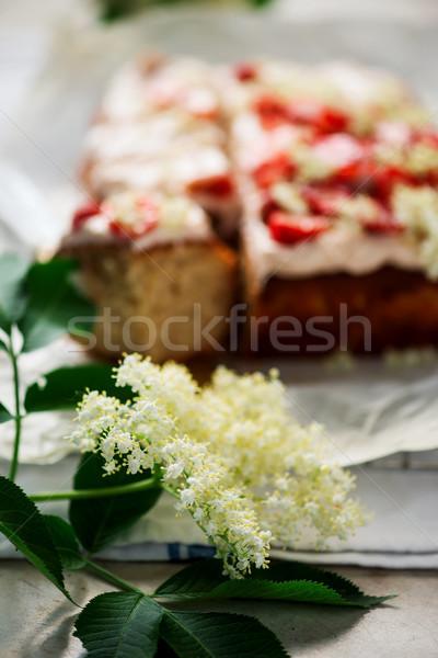 STRAWBERRY, LEMON & ELDERFLOWER CAKE.style vintage.style rustic Stock photo © zoryanchik