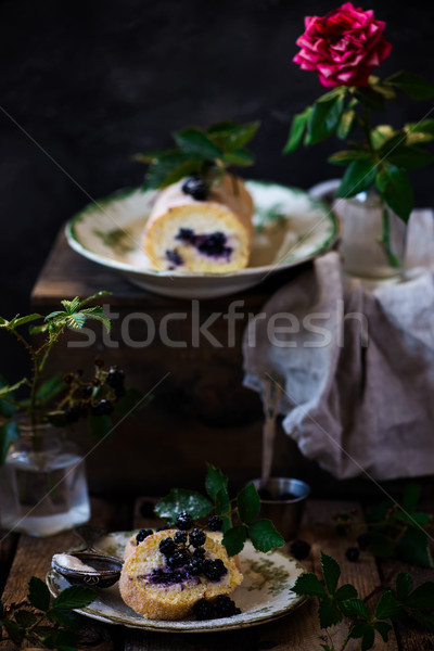 Blackberry cheesecake swiss roll with cream cheese Stock photo © zoryanchik