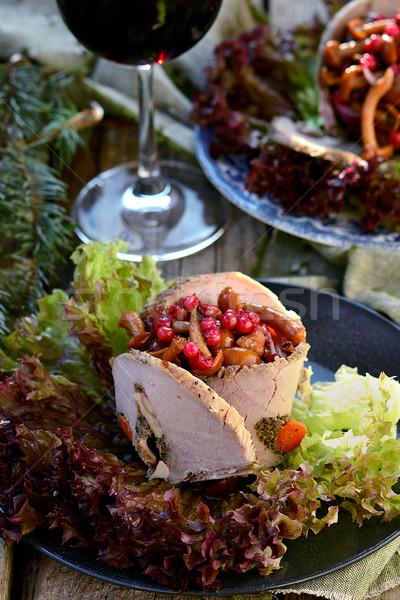 Saláta marinált gombák hús szelektív fókusz természet Stock fotó © zoryanchik