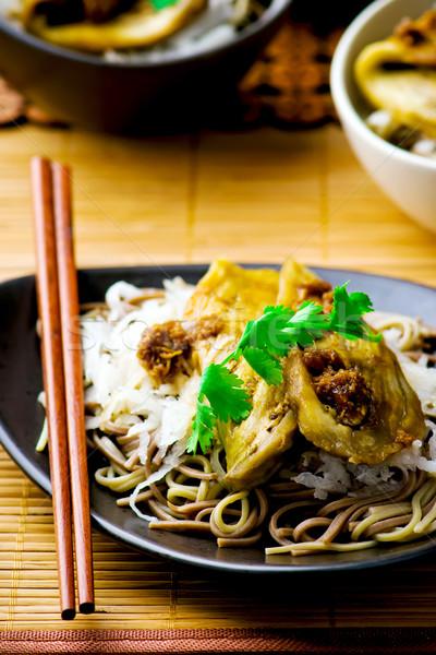 Tészta sült japán konyha szelektív fókusz étterem Stock fotó © zoryanchik