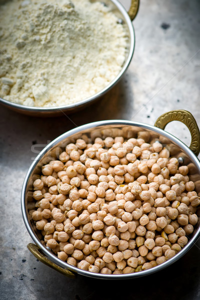 Dry chick-pea in the Indian copper bowl  Stock photo © zoryanchik
