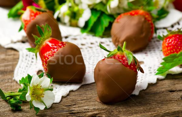 fresh strawberry in chocolate Stock photo © zoryanchik