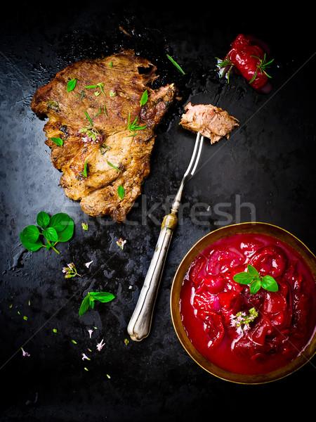 焼き 豚肉 肉 先頭 表示 スタイル ストックフォト © zoryanchik