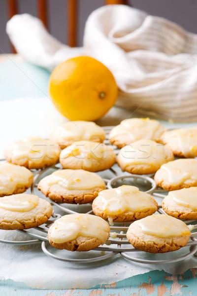 Lemon glaze cookies..style rustic Stock photo © zoryanchik