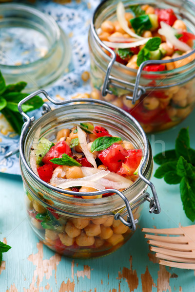 chickpea lunch salad in a jar..style rustic. Stock photo © zoryanchik