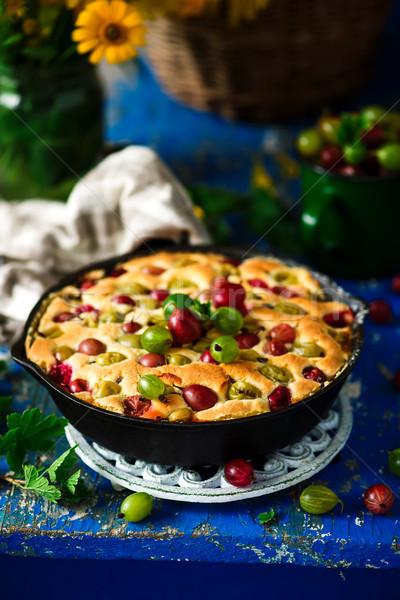 Gooseberry skillet cake.style rustic Stock photo © zoryanchik