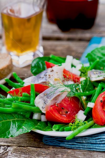 Groene bonen tomaten zomer salade Rood Stockfoto © zoryanchik