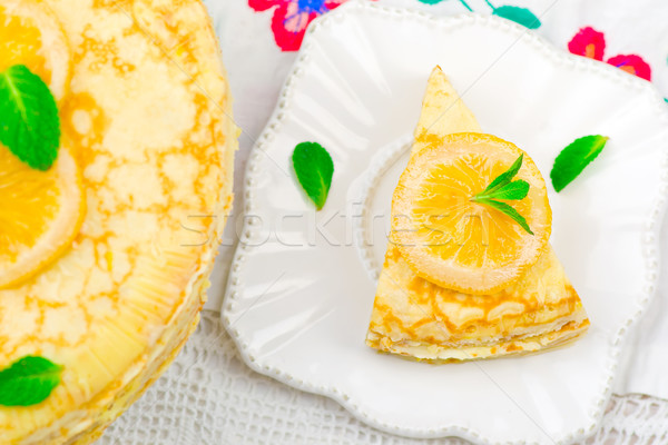 blinis pie with the lemon curd.  Stock photo © zoryanchik