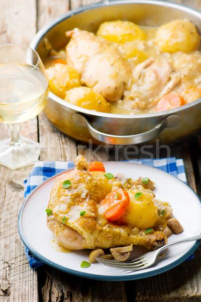 Braised Chicken with Vegetables  Stock photo © zoryanchik