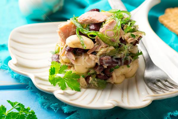 Tonijn zeewier gemengd salade plaat vers Stockfoto © zoryanchik