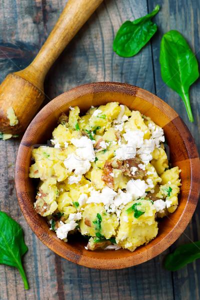 Espinafre feta batatas vegetal refeição saudável Foto stock © zoryanchik