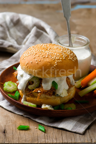 buffalo turkey sandwich with blue cheese sause Stock photo © zoryanchik