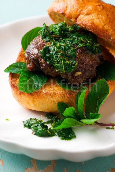 Baranka mięty sos rustykalny selektywne focus świeże Zdjęcia stock © zoryanchik