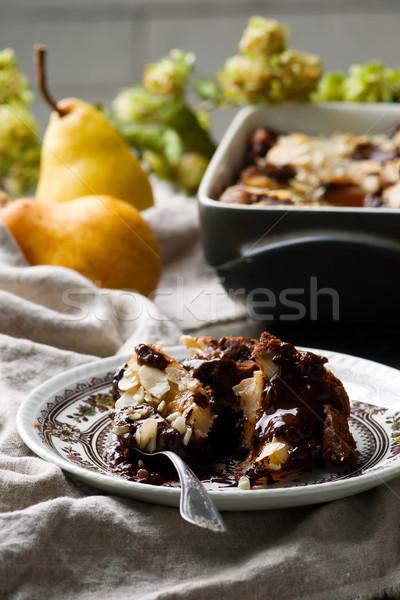 Chocolade peer pudding selectieve aandacht voedsel zoete Stockfoto © zoryanchik