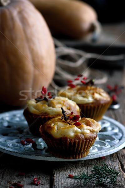 Stockfoto: Pompoen · room · kaas · swirl · muffins · selectieve · aandacht