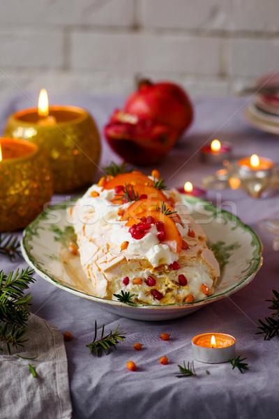 Zimą owoców vintage żywności tle ciasto Zdjęcia stock © zoryanchik