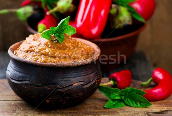 eggplant paste in a ceramic pot Stock photo © zoryanchik