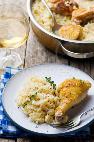 ONE POT  RISOTTO WITH CHICKEN Stock photo © zoryanchik