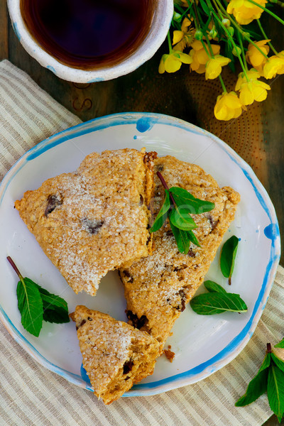 peanut butter chocolate chip oatmeal scones.style rustic  selective focus.  Stock photo © zoryanchik