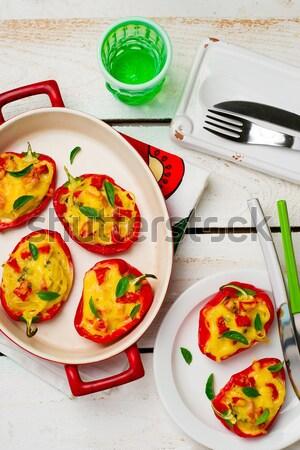 Bors töltött spagetti fehér tányér szelektív fókusz Stock fotó © zoryanchik