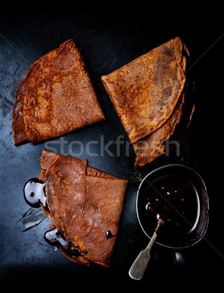 チョコレート パンケーキ ソース スタイル 食品 光 ストックフォト © zoryanchik